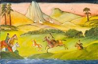 horsemen in a landscape by tassaduq sohail