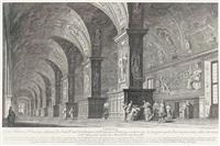 veduta intiera del portico avanti l'ingresso della basilica di s. pietro in vaticano (+ veduta della biblioteca vaticana; 2 works after francesco panini) by giuseppe vasi