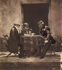 the council of war, held on the morning of the taking of the mamelon (lord raglan, omar pacha et général pelissier) by roger fenton