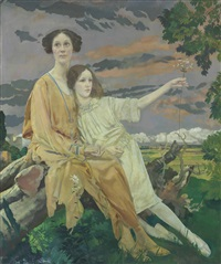 portrait of mrs william younger and her daughter charlotte mary by charles sims