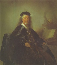 portrait of a mathematician holding a stick and a piece of paper, a geometry book beside him by paulus lesire