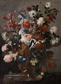a still life of roses, tulips and other flowers in a vase by franz werner von tamm