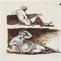 two person portrayals with respectively a lying man and a lying woman by nicolaj-abraham abilgaard