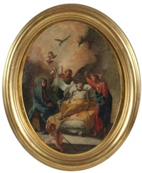 dormition de la vierge et d'un saint (pair) by french school (18)