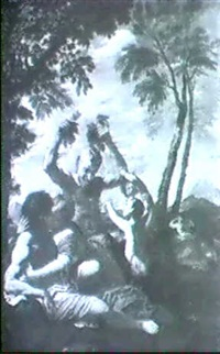 a pair of lovers and a satyr in an arcadian landscape by jan (pan) von lis