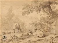 vue de campagne avec un couple de pâtres et leurs animaux by dirk van bergen