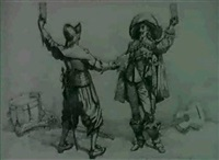 a) the jovial cavaliers;                  b) dram, romance and poetry at the british academy (2) by edward linley sambourne