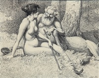 a centaur and a nude female sitting on the forest floor by louis maria niels peder halling moe