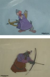 animation cells (2 works from robin hood) by walt disney