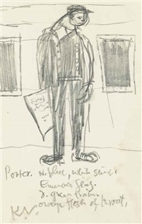 railway porter; man selling newspapers; head studies (3 works) by keith vaughan