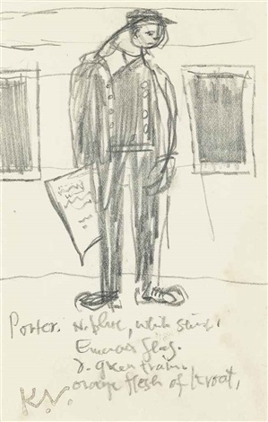 railway porter man selling newspapers head studies 3 works by keith vaughan