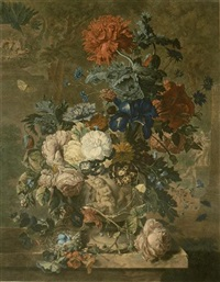a flower piece and a fruit piece by richard earlom