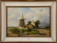 paysage animé au moulin à vent by willem roelofs