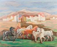pejzaż z końmi by maria ewa lunkiewicz-rogoyska
