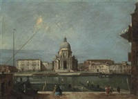a view of the grand canal, venice, with the church of santa maria della salute by francesco guardi