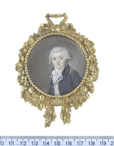 a gentleman, wearing dark blue coat, white figured waistcoat with blue lapels, white frilled chemise, stock and tied cravat, his powdered wig worn en queue by joseph boze