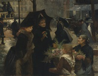 rainy day, flower seller by louis marie de schryver