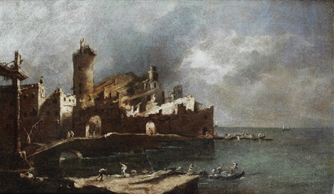 a capriccio of a fire in the venetian lagoon by francesco guardi