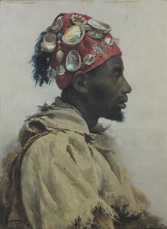 an arab man wearing a hat decorated with shells by josé tapiro y baro