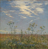 wild flowers in a field by mikhail markelovich guzhavin