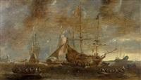 marins embarquant dans un port à bord de chaloupes by andries van artvelt (ertvelt)