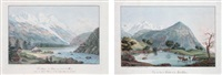vue du lac de chède et du mont-blanc et le village du bois au bord de l'arve (2 works) by jean-françois albanis de beaumont