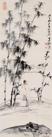 子猷观竹图 scholar by the bamboo grove by zhang daqian