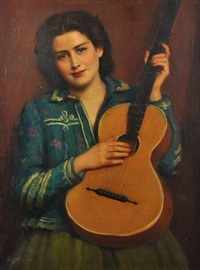 portrait of a woman with a guitar by janos laszlo aldor
