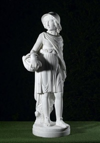 figure of a girl with a basket by joseph gott