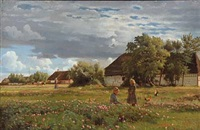 summer day in the country with two children playing on the field by hans ludvig smidth
