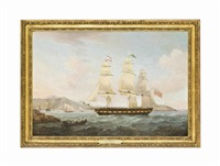 the english armed merchantman hibernia entering the harbour of charlotte amalie, st. thomas, the virgin islands by thomas whitcombe
