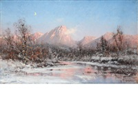 mountain lake, winter by frithjof smith-hald