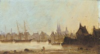 a normandy harbour by jules amédée louis fleury