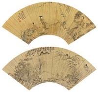 听琴图 携琴访友图 (2 works; various sizes) by xu yang and jiang dao
