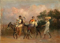 view from italy with a family riding on donkeys by otto bache