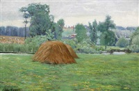 haystack in landscape by john franklin stacey