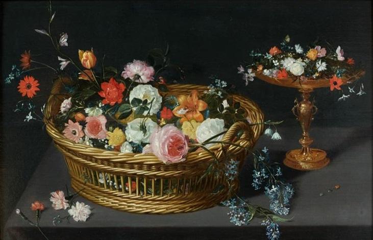 corbeille de fleurs et coupe en vermeil sur un entablement by jan brueghel the younger