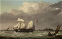 topsail schooner off the dutch coast by thomas a. binks