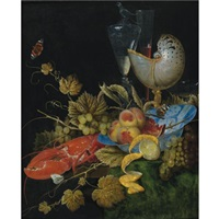 still life with lobster, fruit and a nautilus shell by ottmar elliger the elder