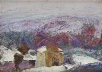 paysage d'auvergne, l'hiver by victor charreton
