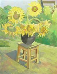 vase with sun flower by valentin popa