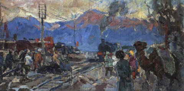 premier train en asie centrale by mikhail artioukhine