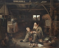 peasants cooking in a barn interior by pieter jacobsz duyfhuysen