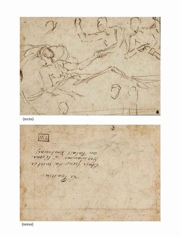un homme allongé sur un lit deux hommes debout derrière lun lui tenant la main et étude de jambe recto verso by nicolas poussin