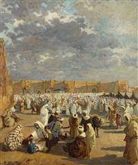 souk devant les remparts de marrakech by dario mecatti