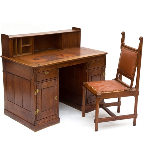 An Oakwood Desk With A Matching Chair By Alexander Jacobus