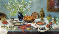 a samovar, blossom in a glass vase, strawberries in a bowl, dead game, lobsters, pineapples and other items on a table by hans brygge