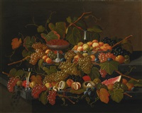 still life with fruit and champagne by severin roesen