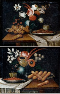 natures mortes aux biscuits et au bouquet de fleurs (pair) by baltazar gomes figueira