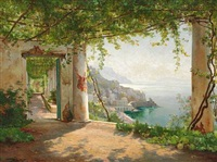view from a loggia in sorrento by carl frederik peder aagaard